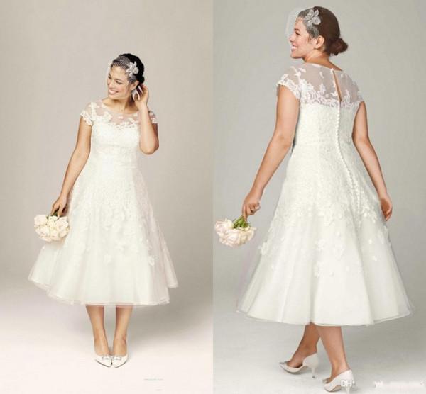 Discount Vintage Tea Length Wedding Dress Scoop Cap Sleeve Lace Applique  Plus Size Wedding Dress 2018 Short Bridal Gowns Wedding Gown Rental Ball ...