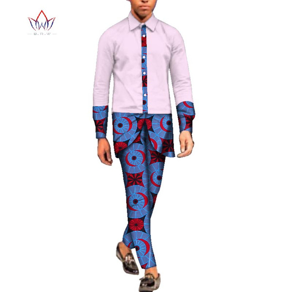 2018 natural Autumn 5xl men African Clothing full sleeve dashiki men 2 Pieces Plus Size african mens cotton clothing BRW WYN66