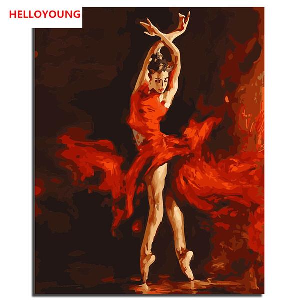 HALLOYOUNG Handgemaltes Ölgemälde Feuer Tänzer Digitale Malerei von zahlen Ölgemälde chinesische Roll Gemälde Home Decor