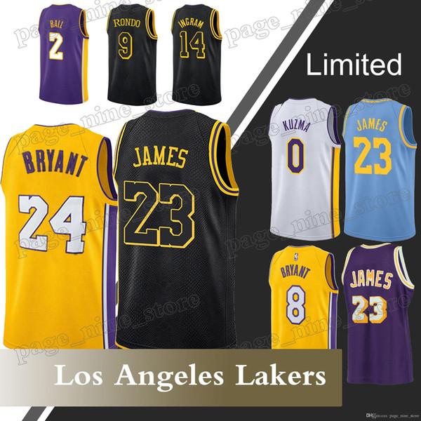 new styles b9c4d 3849c 2018 Los Angeles Lakers 0 Kyle Kuzma Jerseys 23 Lebron James Jersey 24 Kobe  Bryant 2 Lonzo Ball 14 Brandon Ingram 2018 High Quality From ...