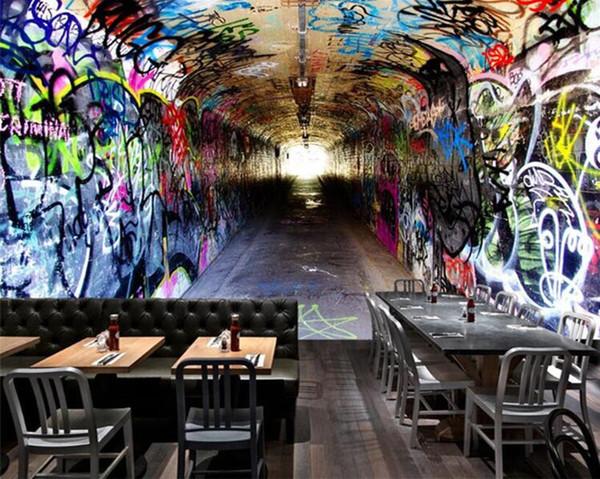 best selling Custom 3D Wall Mural Wallpaper Modern Vintage Tunnel Access Graffiti Wall Paper Cafe Bar KTV Restaurant Personality Decor Murals