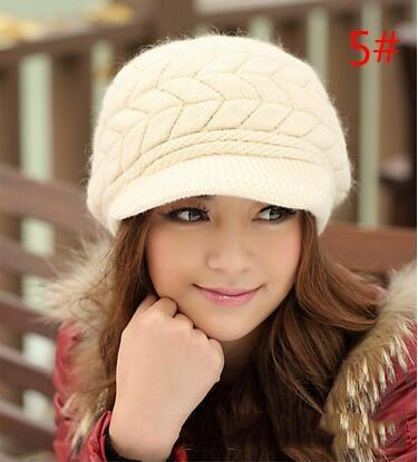Elegant Womens Winter Rabbit Fur Hat Female Fall Knitted Hats For Woman Cap Autumn And Winter Ladies Fashion M043