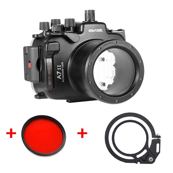 Underwater Waterproof Housing Diving Camera Case For Sony A7 II M2 28-70mm Lens Camera +67mm red filter + Wet-lens Adapter Mount