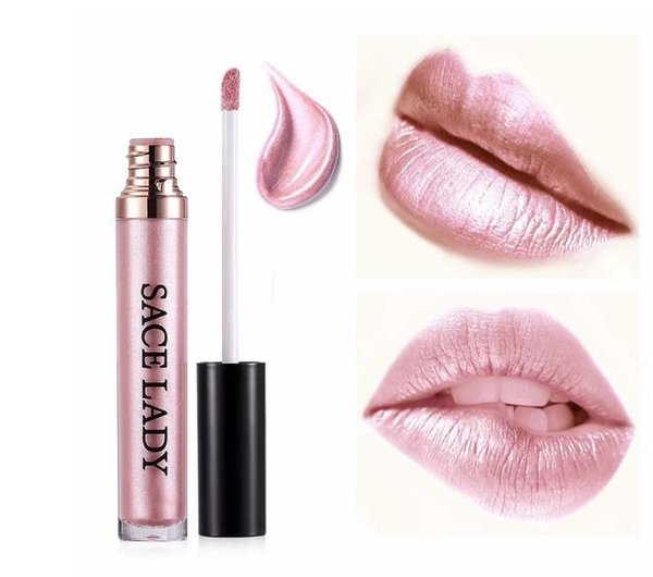 SACE LADY Metallic Lip Gloss 16 Color Waterproof Glitter Liquid Lipstick Long-lasting Make Up Lipgloss Tint Rose Gold Red Makeup