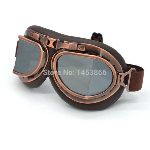 Coffee Leather Frame Moto Goggles motorcycle glasses Riding Racing Bike Driving Goggle Silver lens