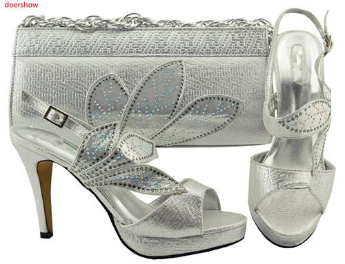 Italian Shoe With Bags Set For Party In Women African Decorated With Rhinestone Shoes And Bag Set For Wedding FG 1-28