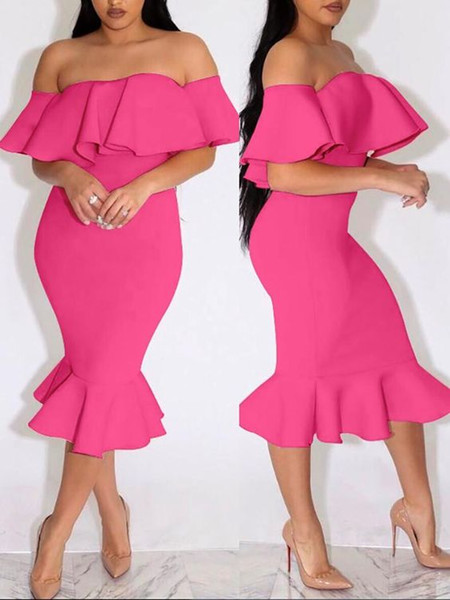 Plus Size Evening Dresses 2018 Fuchsia Satin Short Sleeves Mermaid Maid Of Honor Gowns Guest Mother Party Dress