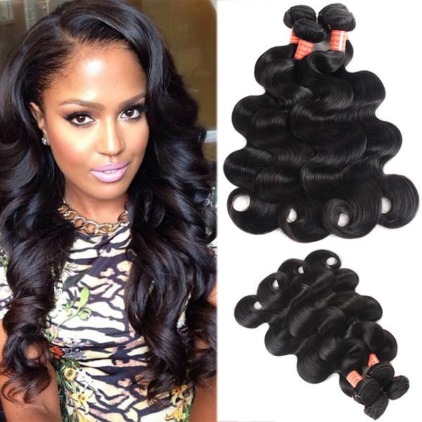8A Bundles brasiliani non trattati dei capelli dell'onda del corpo 3/4 pc lotto colore naturale brasiliano del tessuto dei capelli umani dell'onda del corpo del Virgin