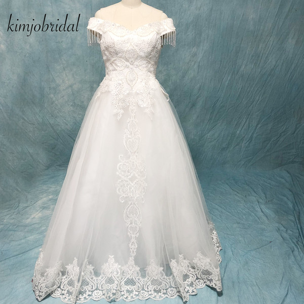 Vestidos de novia del vestido de bola 2018 fuera del hombro de la borla de encaje hasta la espalda piso de longitud vestidos de novia con cuentas imagen real