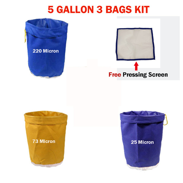 Filter Bag 5 Gallon 3 Bag Set Bubble Plant Garden Grow Bag Hash Herbal Ice Essence Extractor Kit Extraction Bags with Pressing Screen