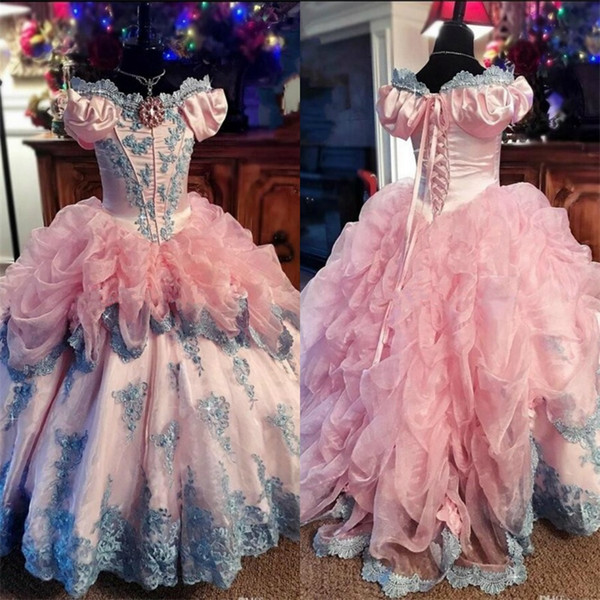 Vintage Flower Girls Dresses Off Shoulder Short Sleeve Ball Gown Ruffles Baby Girl Birthday Party Pageant Dresses Girl's Pageant Gowns