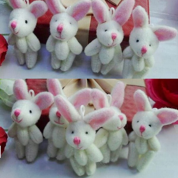 1PC 4CM Joint Long Ear Rabbit Plush Stuffed Toy Doll Garment Hair Decor Accessories Toy Doll Mini Candy Box G0199