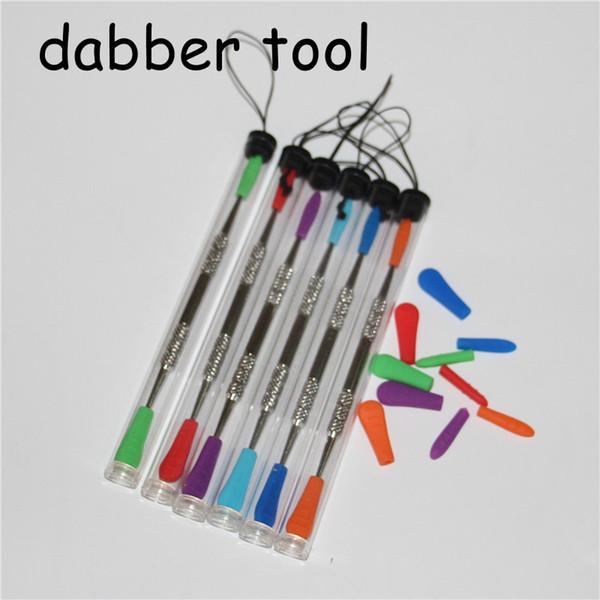 Venda quente 120mm cera esculpindo ferramenta dab com pacote de tubo de plástico de aço inoxidável ferramentas de cera dabber ponta de silicone end fumar metal dab ferramentas