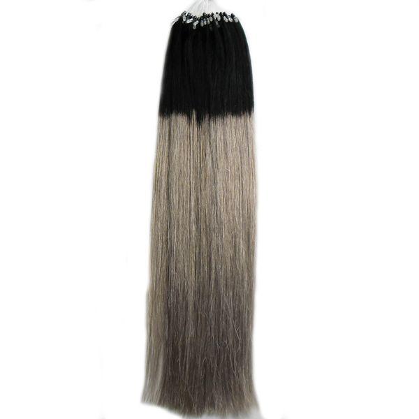 1B/Grey Ombre Brazilian Human Hair Straight 8a Micro Loop Ombre Silver Gray 100g Virgin Brazilian hair Human Micro Bead Hair Extensions 100s