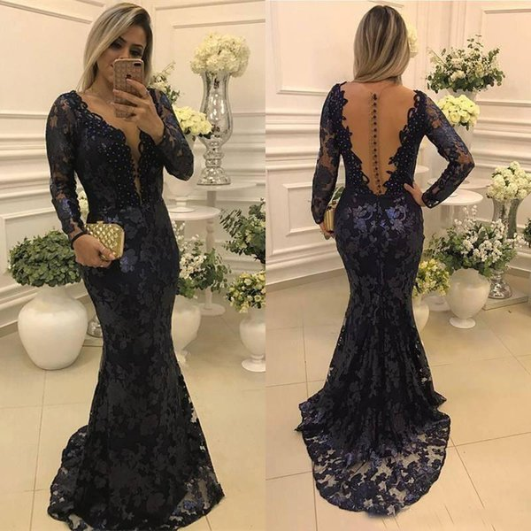 2018 Dark Navy Mermaid Applique Lace Mother of the Bride Dresses Illusion Long Sleeves Sheer Button Back Elegant Party Evening Gowns