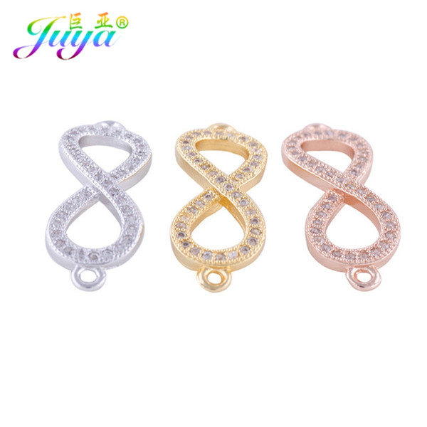 DIY Bijoux Jewelry Supplies Micro Pave Zircon Infinity Connector Charms Accessories For Charm Bracelets Jewelry Making Berloque