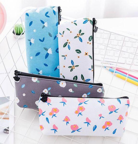 Exquisite student pen bag nice canvas pencil case cute print pencil bag 4 color free shipping