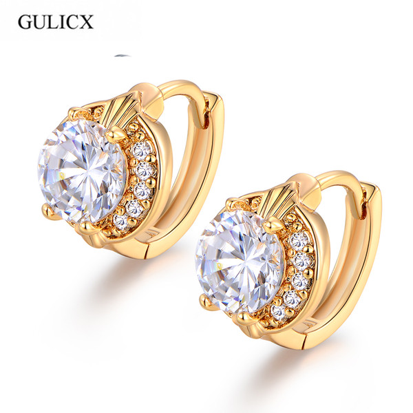 jewelry 2017 Fashion Round Jewelry for Women Gold-color White Crystal Zirconia Hoop Earrings E150