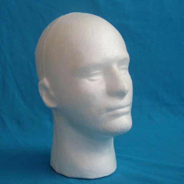 1x male model head Male Styrofoam Mannequin Manikin Head Model Foam Wig Hair Glasses Display 2018f9