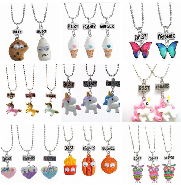 Best Friends Forever pendant necklace cute children jewelry Emulation resin burger hot dog ice cream jewelry set BFF Owl unicorn necklace