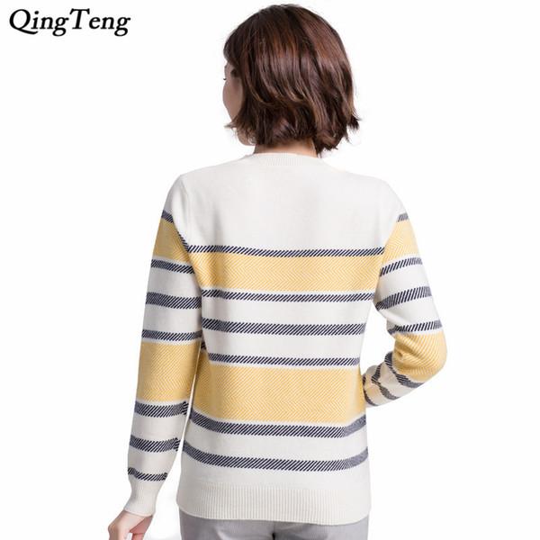 Compre Suéter De Cachemira A Rayas Amarillas Para Mujer Ligero De ...