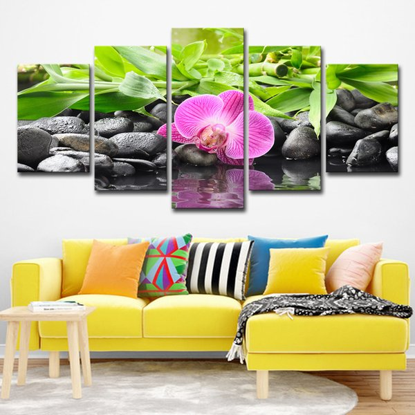 Canvas Pictures Modular Living Room Decor 5 Pieces Stones Bamboo Orchid Flowers Paintings Wall Art HD Prints Posters