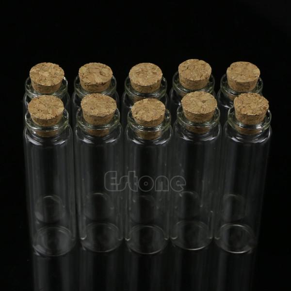 S-home 10pcs 20ml 22*80mm New Mini Glass Bottle Vial with Cork Stopper Storage Pendant MAR23