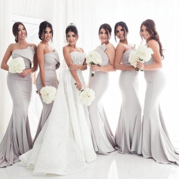 2019 Ucuz Şerit Mermaid Gelinlik Modelleri Saten Straplez Kolsuz Dantelli Draped Kat Uzunluk Custom Made Onur Elbise Hizmetçi