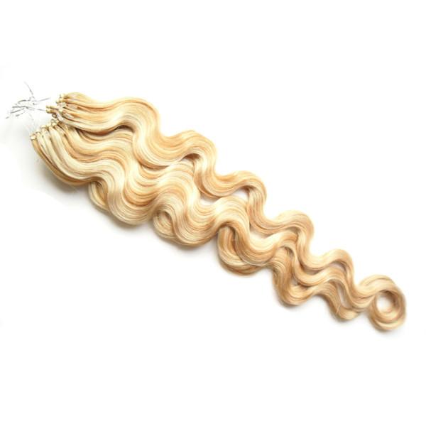 P27 / 613 Couleur Corps Vague Remy Cheveux Humains 1g / brin 100g Micro Anneau Extensions de Cheveux Humains 18-24 pouce Micro Boucle Extensions de Cheveux Humains Remy