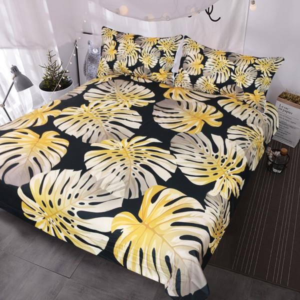 BlessLiving Modern Tropical Leaf Bedding Set Gold Monstera Leaves Shiny Pattern Duvet Covers Summer Floral Bed Set Black White