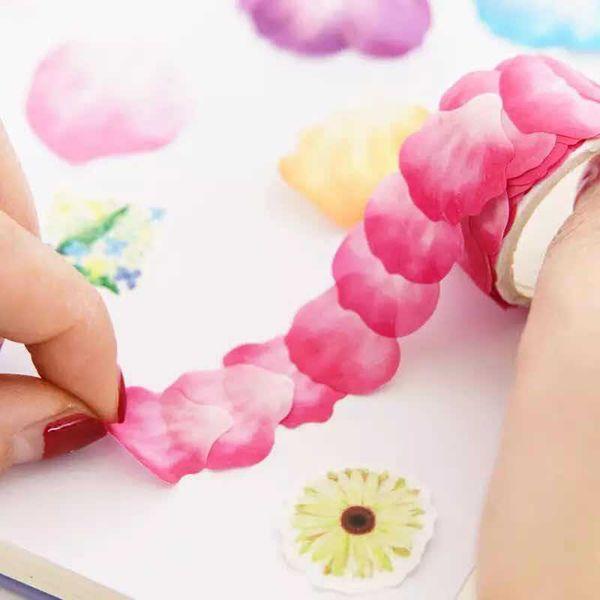 best selling 2016 Adhesive Petal Shaped Tape Stickers DIY Scrapbook Decorative Washi Tape Kids Hobbies Art Supplies 200pcs Petal Roll