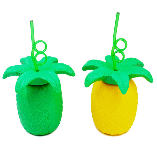 Creative Pineapple Straw Cups Plastic Cartoon Sipper Water Bottle Adorable Kids Gifts Portable Yellow Green