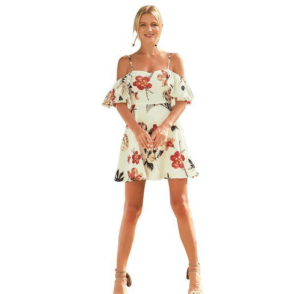 Nuevo vestido de viento de vacaciones con estampado sexy para mujer Kaikuo 2019 temperamento que conmuta a mujeres falda de dama sexy 54158