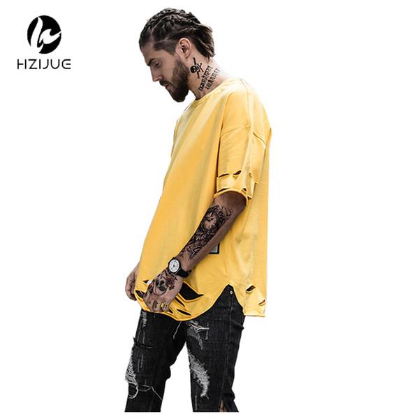 HZIJUE Alargado Ripped Hip Hop T-shirt Hombres Verano Dobladillo curvo Longline Camisetas para hombre Destruir Camisetas extendidas Rojo Amarillo Blanco