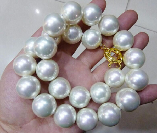 """top popular LL<<<RARE Huge 16mm White South Sea Shell Pearl Necklace 18"""" 2021"""