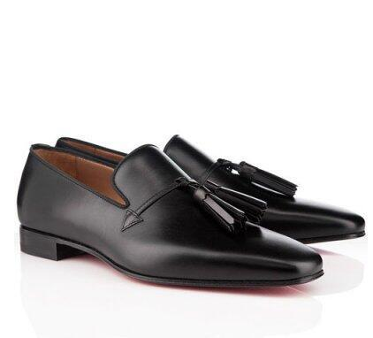 High Quality Cheap Red Bottom Men Dress Shoes Daddy Loafer Men Business Flat Black Sheepskin Leather Tassel Wholesale Discount Free Shipping
