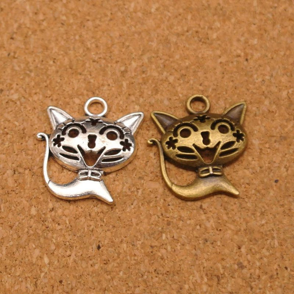 50pcs/lot 21x24mm Vintage Zinc Alloy Cat Pendant For Charm DIY Necklace Bracelet Making Antique Silver/Bronze Jewelry Findings Conversion : 1 inch = 2.54 cm or 1 cm = 0.3937 inch) Category:Jewelery Gender:Women's Occasion:Anniversary, Special Occasion, Party, Gift,Birthday, Engagement, Wedding Jewelry Findings & Components