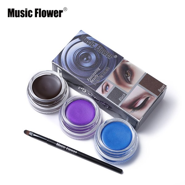 Music Flower Brand 5 Color Shimmer Matte Eyeliner Cream Waterproof Makeup Long Lasting Thick Gel Eye Liner Cosmetics With Brush