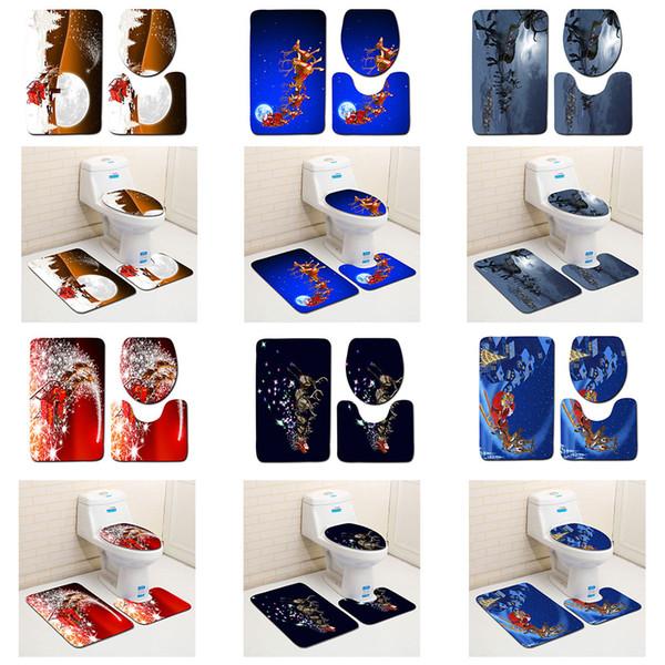 Fibra de poliéster 3 PCS Tampa de Assento Do toalete Tapete Tapete De Banho Tapete De Banho De Natal Casa de Banho Em Casa Xmas Máquina Lavável 3D Impresso