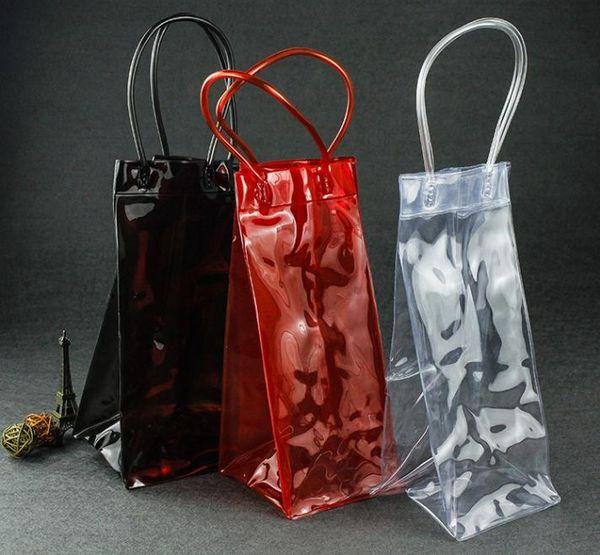 top popular 100pcs Ice Wine Cooler PVC Beer Champagne Drink Cooler Bag Outdoors Picnic Frozen Bag Party Gift Bag 11.5*11*22cm SN1398 2021