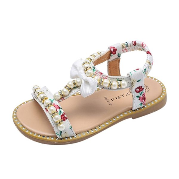 CHAMSGEND Bohemian style Sandals Bowknot Pearl Crystal Roman Sandals Princess Shoes Convenient and comfortable soft base
