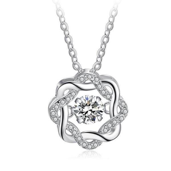 Мода классический поворот танцы CZ камень стерлингового серебра 925 кулон ожерелье для женщин мода ювелирные изделия подарок для любви