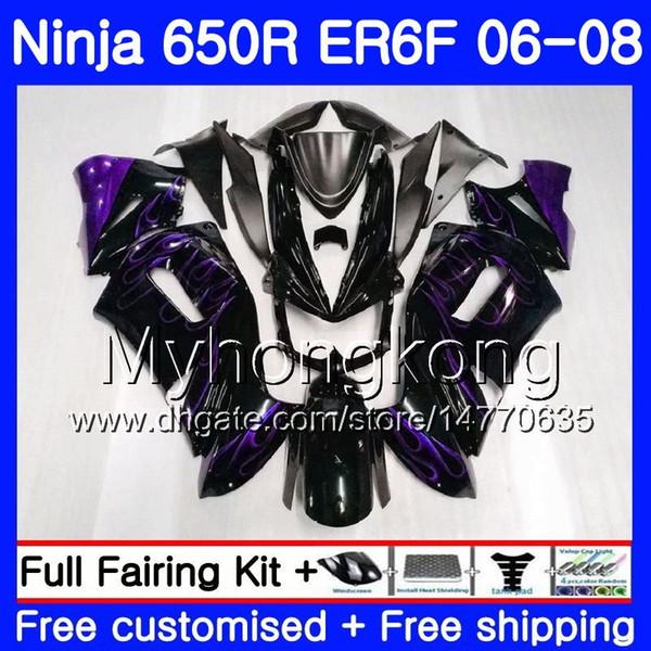 Purple flames Bodys Für KAWASAKI NINJA 650R ER 6F 06 08 ER6F 06 07 08 204HM36 Ninja650R ER6 F 650 ER-6F schwarz 2006 2007 2008 Verkleidungsset