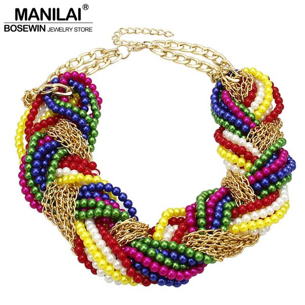 ashion Jewelry Necklace MANILAI Multi layer Simulated Pearl Statement Chokers Necklaces For Women Handmade Woven Chain Multicolor Beaded ...
