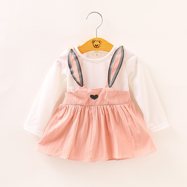 3 Colors Baby Cute Dress Kids Girl Long Sleeved Rabbit Clothes Children Princess Party Dreses Clothing Outfits For Spring Autumn