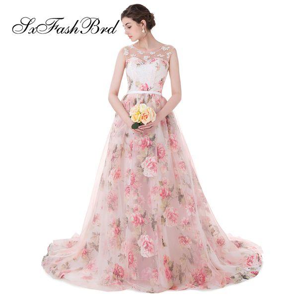 Elegante Mädchen Kleid O Neck Open Back A Line Print Tüll Lange Party Formale Abendkleider für Frauen Abendkleid Kleider