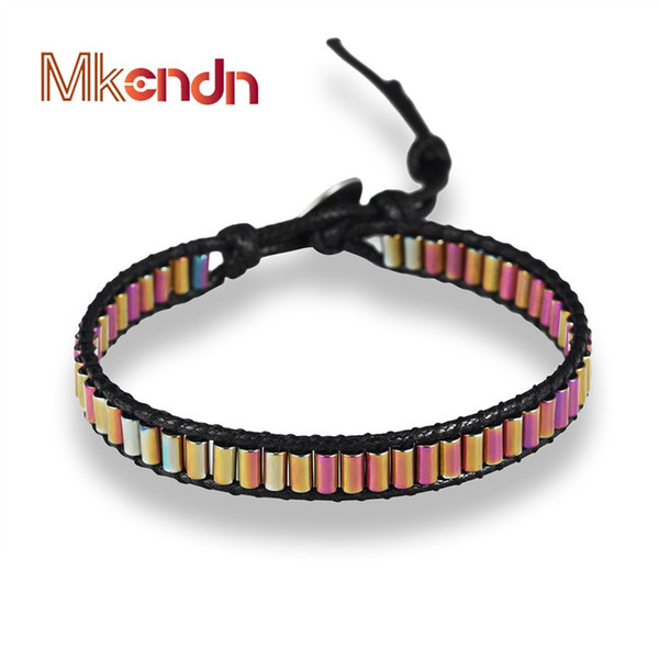 MKENDN Health Energy Bracelet Fashion Powerful Magnetic Hematite Therapy Beads Bracelets for Men Women Button Jewelry