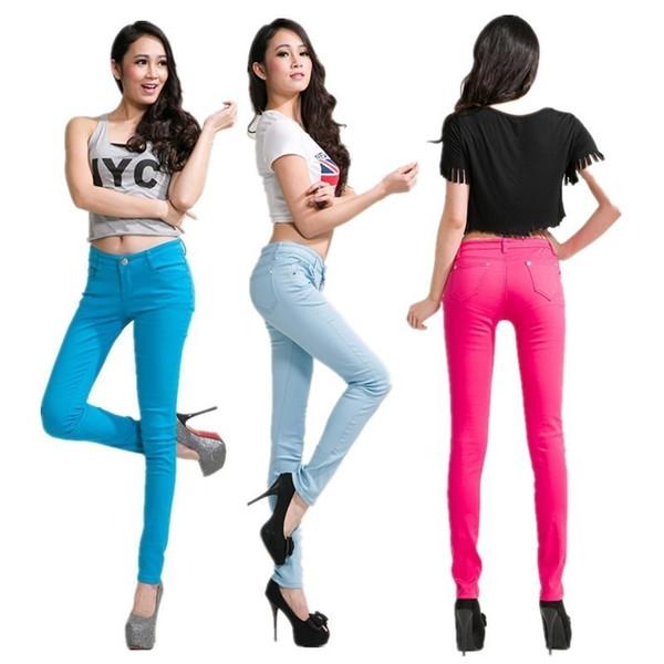 Devolove Printemps Nouvel Automne Crayon De Mode Jeans Femme Couleur De Bonbons Mi Taille Entièrement Longueur Zipper Slim Fit Femmes Pantalons Pantalons