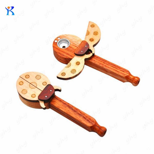 Beetles Shape Wood Smoking Pipes with Metal Bowl Length 105mm Metal Pipes New Solid Wood Pipe Made of Wooden Ladybug
