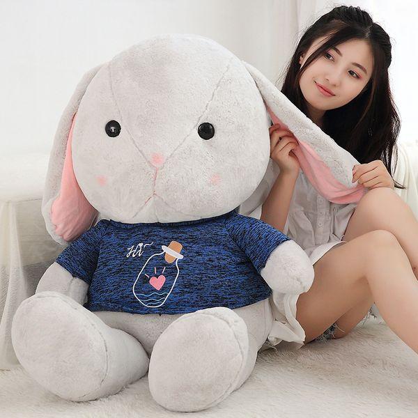 Kawaii Cartoon Bunny Plush Doll Large Stuffed Soft Lovely Fat Rabbit Toy Sleeping Pillow Wedding Deco 70cm 100cm DY50274